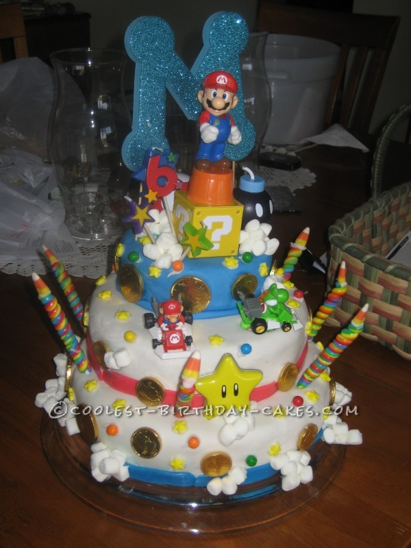 Homemade Mario Birthday Cake