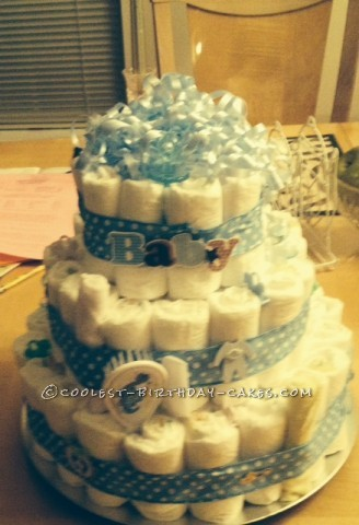 Creative and Unique Diaper Cake Gift for Baby Shower