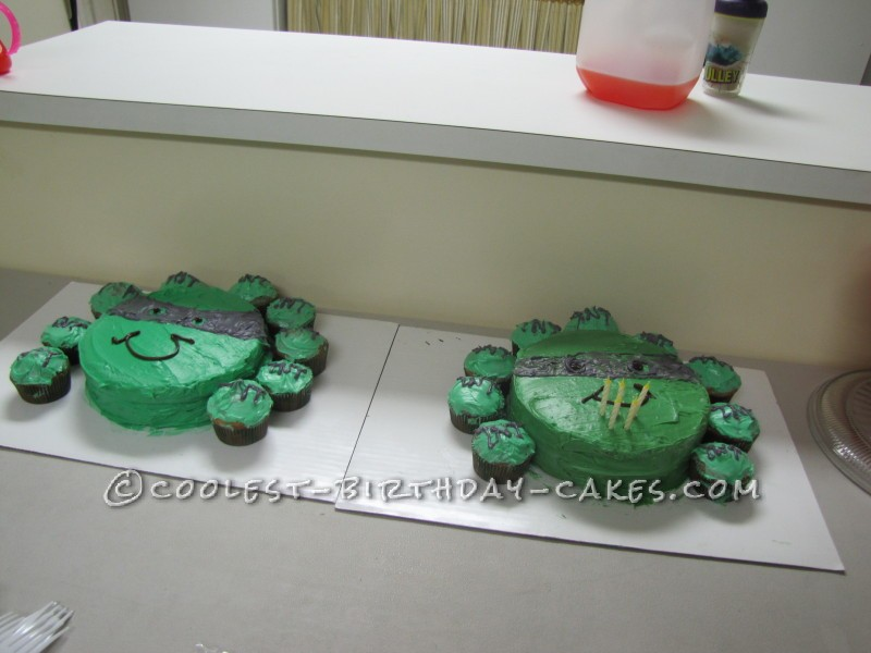 Swell Easy Ninja Turtle Cake And Cupcakes Personalised Birthday Cards Cominlily Jamesorg
