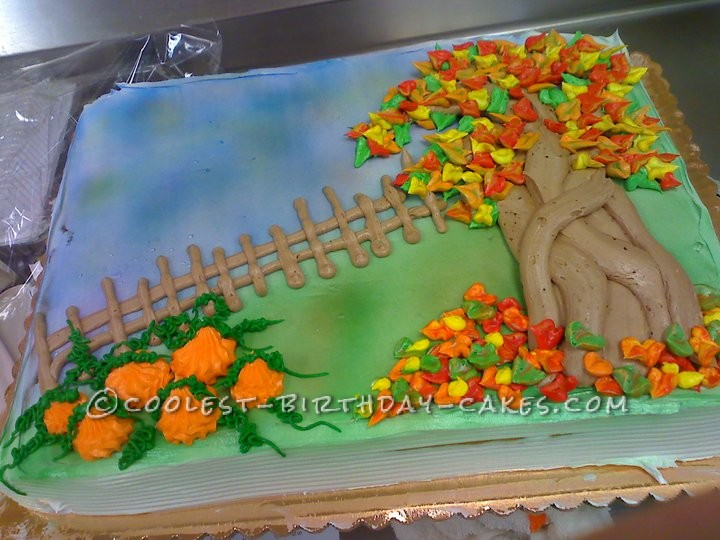 Swell Beautiful Fall Scene Cake Funny Birthday Cards Online Fluifree Goldxyz