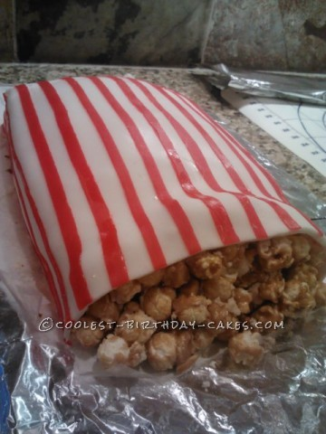 Fun Box of Carmel Corn Birthday Cake