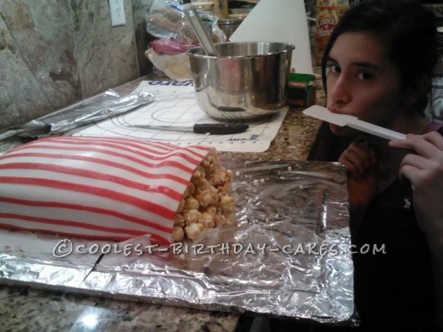 Fun Box of Carmel Corn Birthday Cake