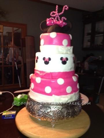 Homemade 3rd Birthday Minnie Mouse Cake