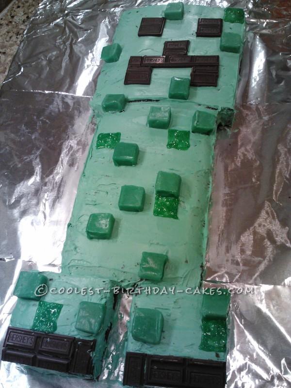 Cool Homemade Minecraft Creeper Birthday Cake