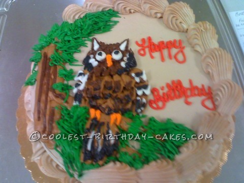 Owl on a Perch Birthday Cake