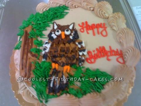 Owl on a Perch Birthday Cake