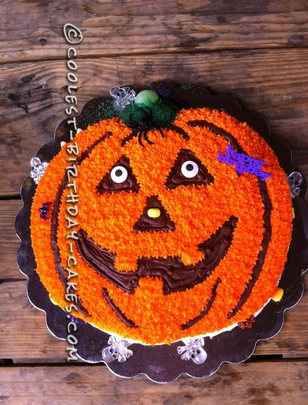 Marvelous Pumpkin Birthday Cake Using The Wilton Pumpkin Cake Pan Funny Birthday Cards Online Alyptdamsfinfo