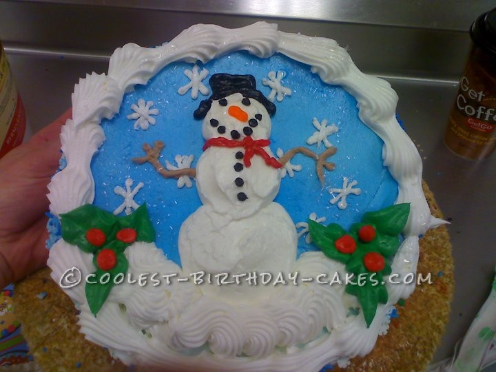 Cool Snowman Winter Cake Idea