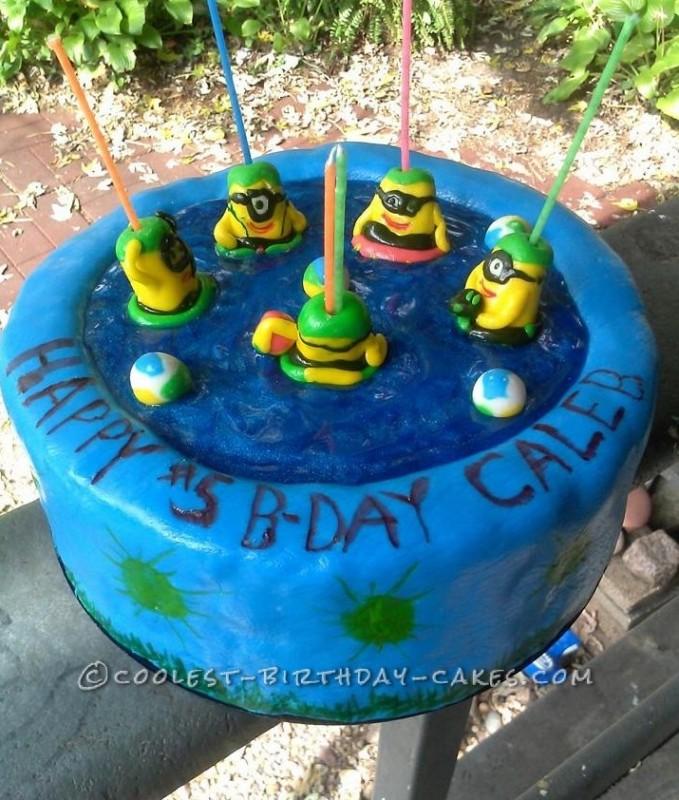 Coolest Swimming Minions Birthday Cake
