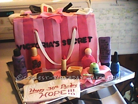 Fashionable Decorated Cake: Victoria's Secret Shopping Bag with Accessories