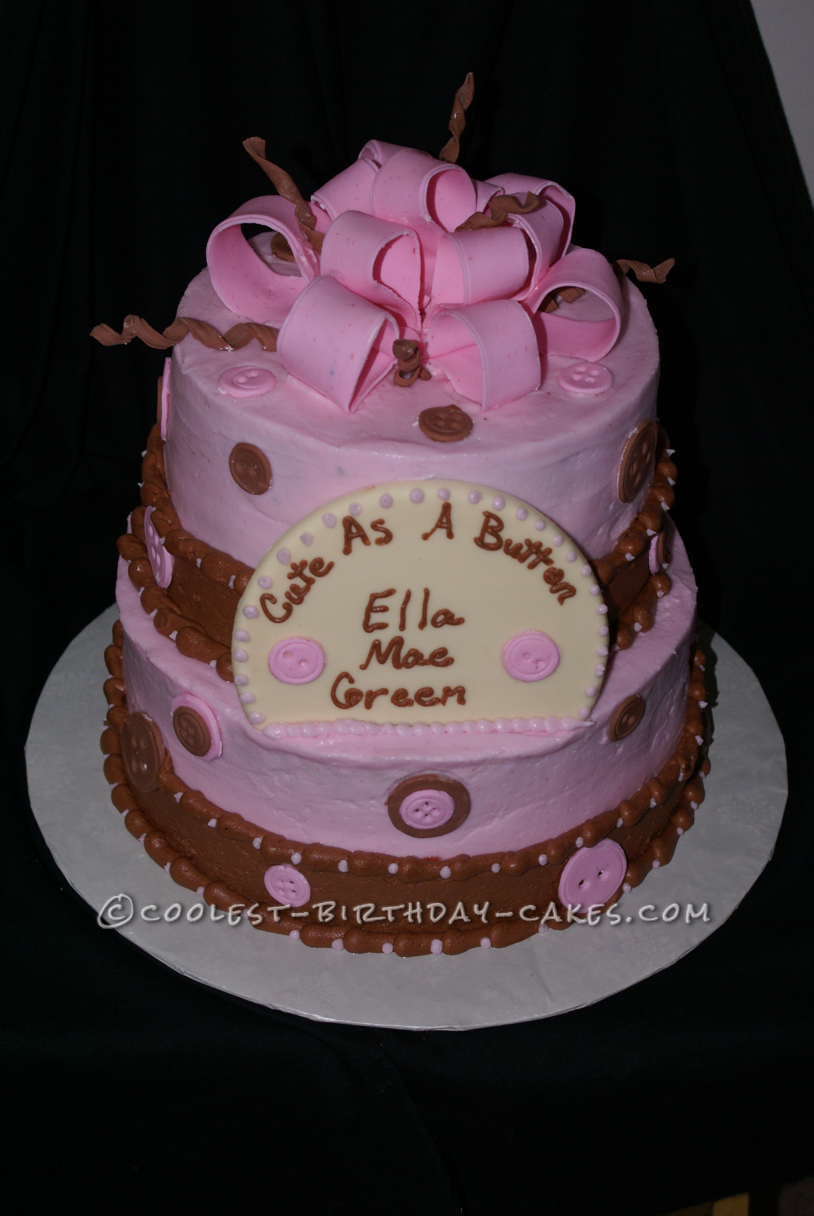 Coolest Homemade Pink And Brown Baby Shower Cake