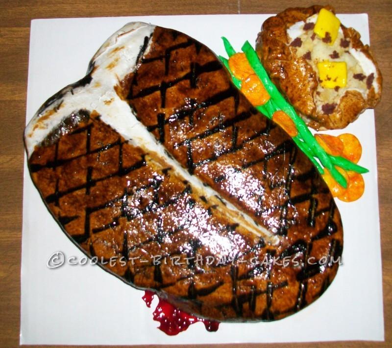 Magnificent Unique Rare Steak Birthday Cake Funny Birthday Cards Online Inifofree Goldxyz