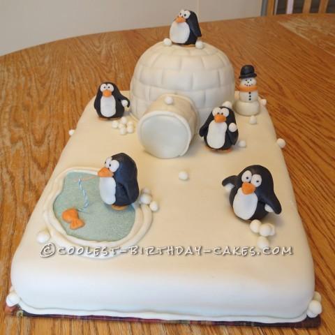 Penguin Snowball Fight Cake
