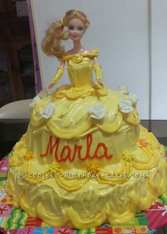 Fine Coolest Princess Belle Cake Personalised Birthday Cards Paralily Jamesorg