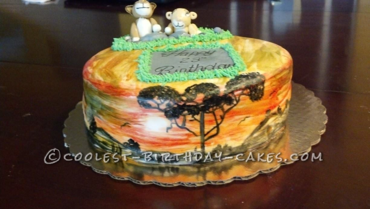Pleasing Coolest Hand Painted Lion King Cake Personalised Birthday Cards Paralily Jamesorg
