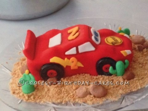 Race to the Deadline Lightning McQueen Birthday Cake