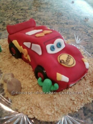 Race to the Deadline Lightning McQueen Birthday Cake