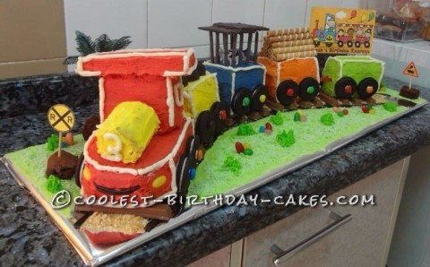 Coolest Birthday Express Train Cake
