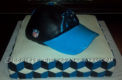 Coolest Carolina Panther Football Cap Birthday Cake