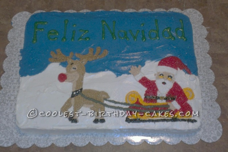 Last Minute Christmas Cake Rudolf and Santa