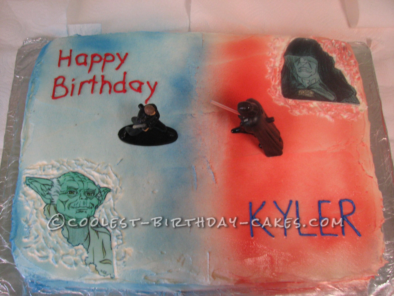 Coolest Luke vs Darth Star Wars Birthday Cake
