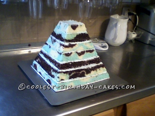Making the pyramid shaped cake