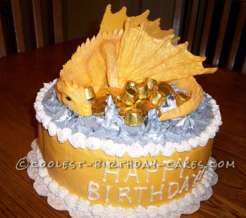 Cool Golden Birthday Dragon Cake