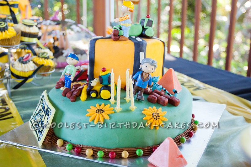 Coolest Homemade 2 Tiered Bob The Builder Cake