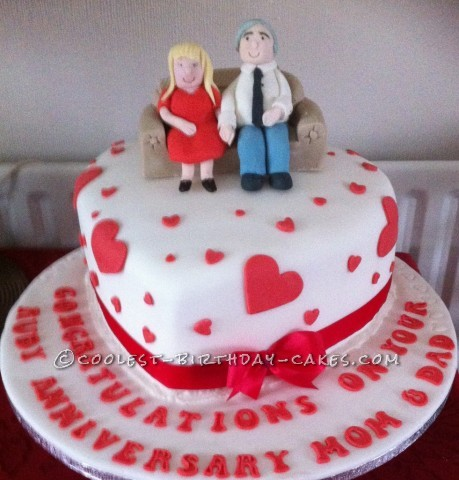 Coolest Heart Shape Anniversay Cake