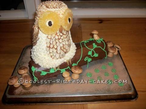 Owl on a log with meringue mushrooms
