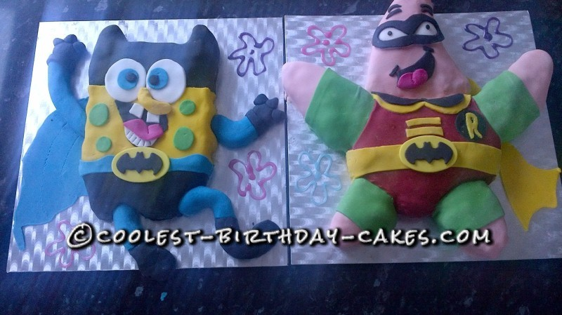 Pleasing Coolest Sponge Bob Batman Cake And Patrick Robin Cake Personalised Birthday Cards Vishlily Jamesorg
