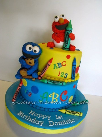 Surprising 1St Birthday Cake With Baby Elmo And Cookie Monster Personalised Birthday Cards Paralily Jamesorg
