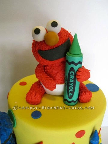 Astonishing 1St Birthday Cake With Baby Elmo And Cookie Monster Funny Birthday Cards Online Alyptdamsfinfo