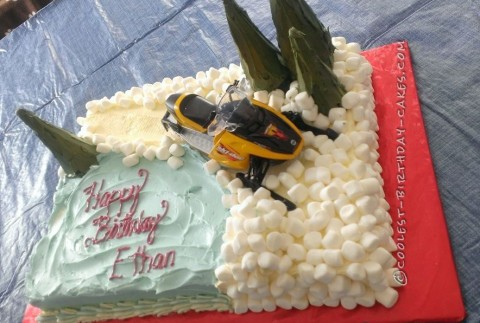 Snowmobiling Cake for an 8th Birthday