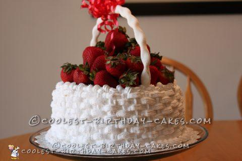 Basket of Strawberries Birthday Cake