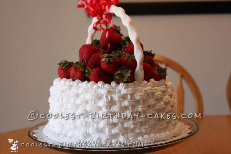 Basket of Strawberries Birthday Cake
