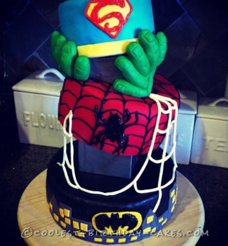 Coolest Leaning Superheroes Cake