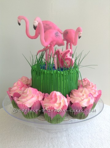Fabulous Flock of Flamingos Cake