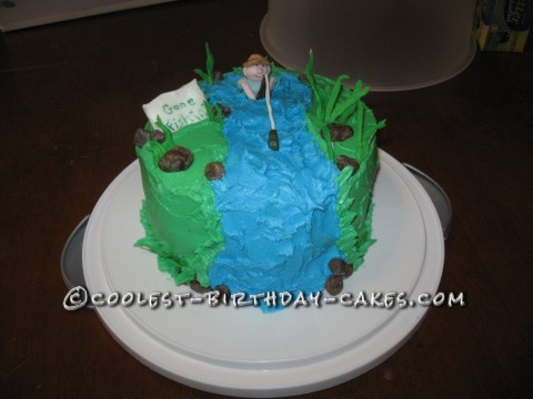 Astonishing Cute Homemade Fishing Birthday Cake With Gone Fishing Sign Funny Birthday Cards Online Alyptdamsfinfo