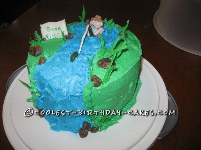 Magnificent Cute Homemade Fishing Birthday Cake With Gone Fishing Sign Funny Birthday Cards Online Elaedamsfinfo