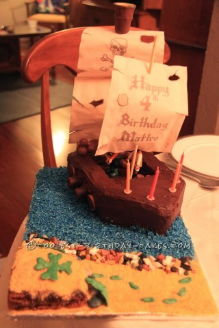 Coolest Playmobile Pirate Ship Birthday Cake