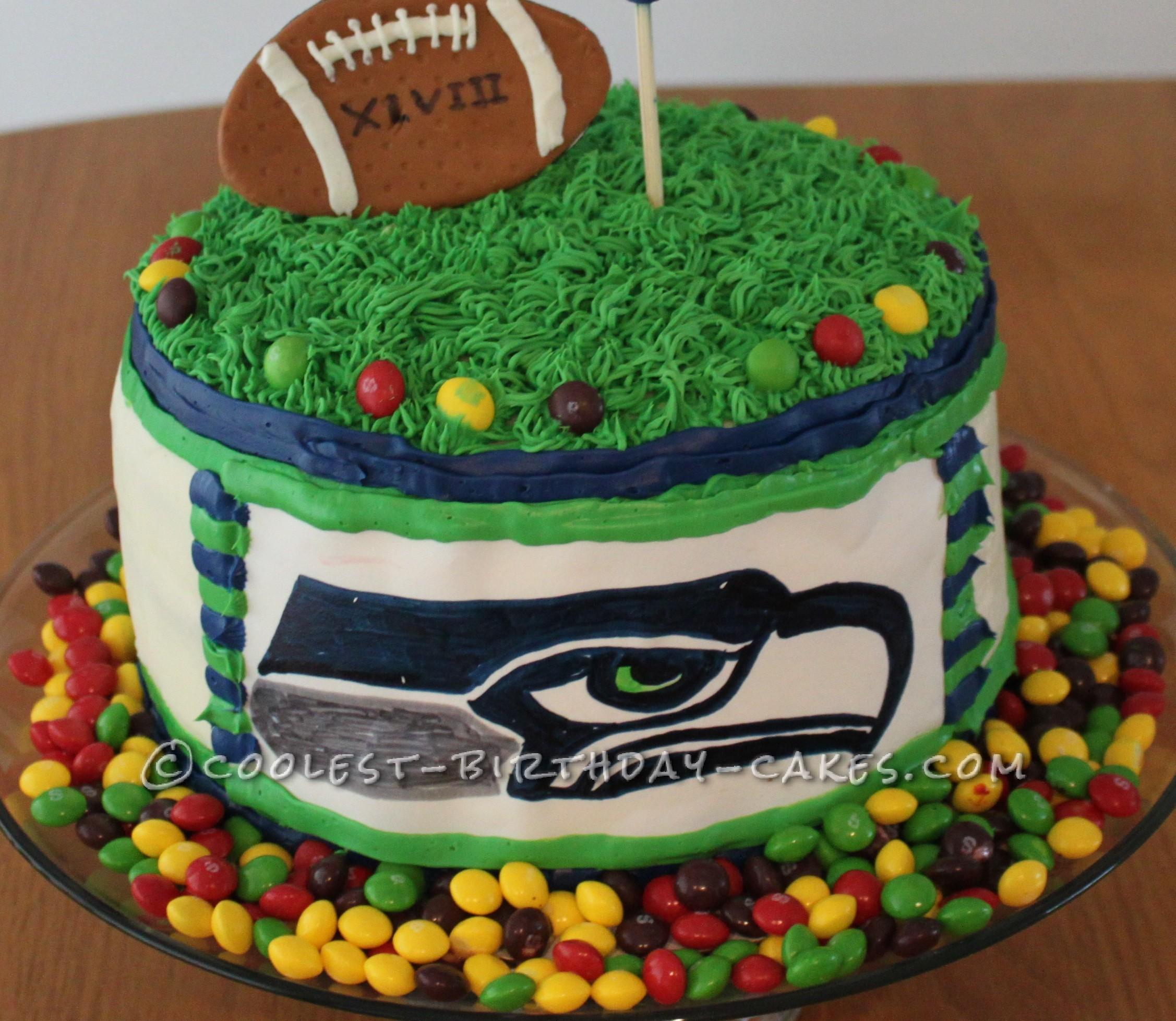 Seahawk Birthday and Super Bowl Cake