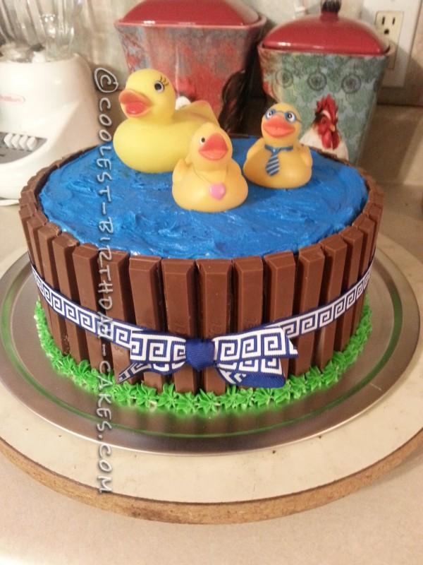 Super Cute Rubber Duckies in a Pool Cake