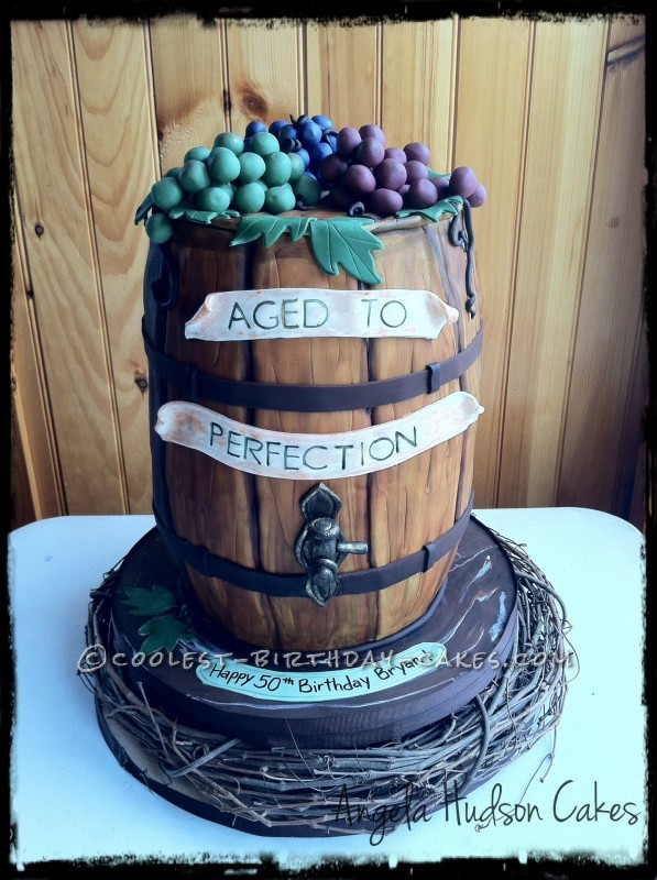 Groovy Coolest Wine Barrel Cake Funny Birthday Cards Online Alyptdamsfinfo