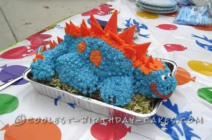 3-D Dino Stegosaurus Cake for 3-Year-Old Birthday