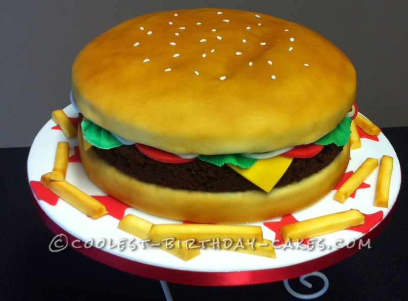 Fantastic Awesome Cheese Burger Cake With Airbrush Funny Birthday Cards Online Aeocydamsfinfo