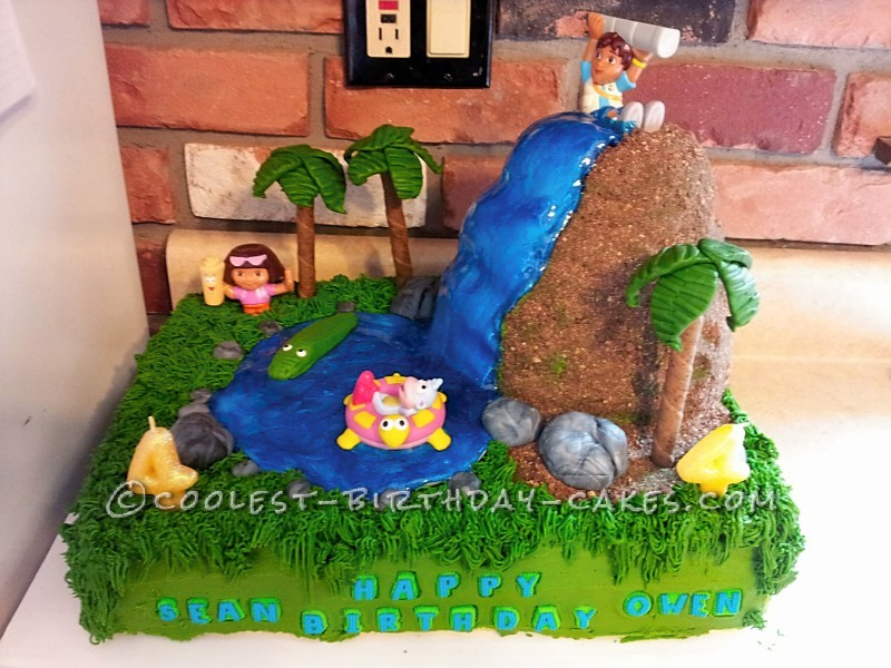 Super Coolest Diego And Dora Birthday Cake For 4 Year Old Twins Personalised Birthday Cards Veneteletsinfo
