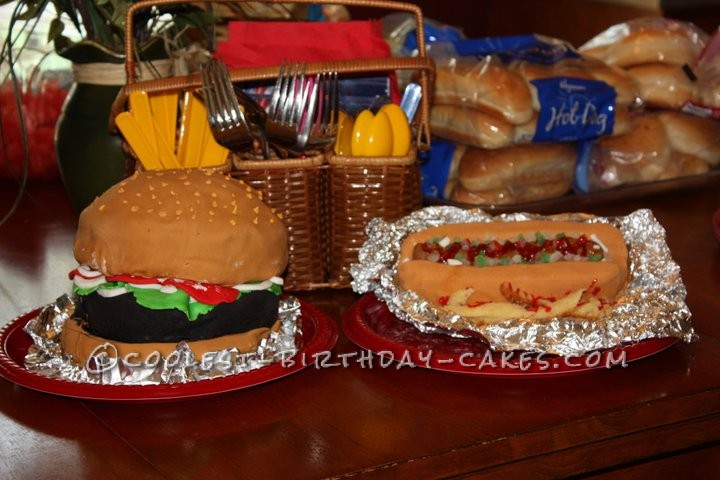 Coolest Hamburger and Hot Dog Cake