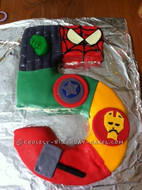 Fabulous Coolest 5 Shaped Superhero Cake Personalised Birthday Cards Akebfashionlily Jamesorg