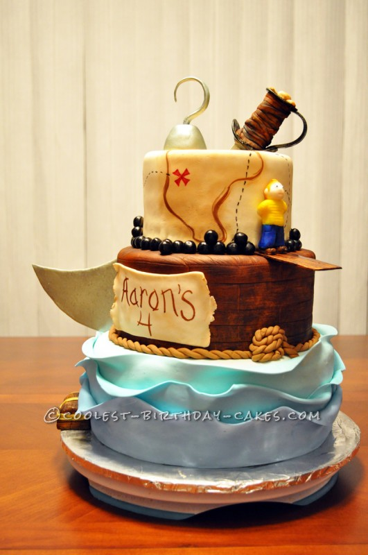 Stupendous Walk The Plank Pirate Cake Personalised Birthday Cards Arneslily Jamesorg